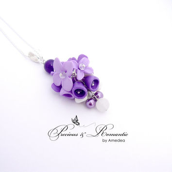 Flower polymer clay pendant - flower jewelry - hand sculpted pendant - silver plated findings - amethyst bead