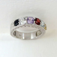 Multicolored Topaz Ring, Vintage Sterling Silver, Anniversary Band, Size 8