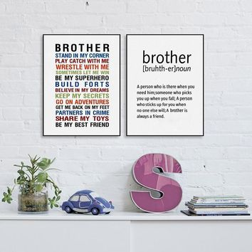 Brother Quote Prints Wall Art Canvas Poster , Big Brother Gift Canvas Painting Boys Room Decoration
