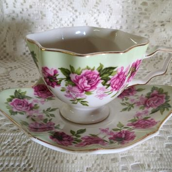 Rare New Green Normandy Rose Porcelain Teacup and Saucer - Only 1 Available!