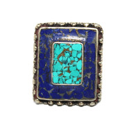 square lapis gypsy ring