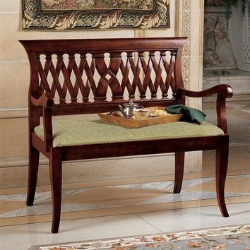Sitting Bench The Wren Mahogany Entry Handcarved Wood X Back Pattern 40W