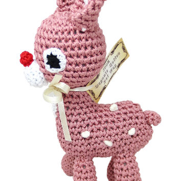 Dog Teeth Cleaning Cotton Crochet Squeaky Dog Toy for Small Dog - Little Bambi