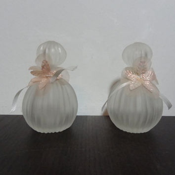 Vintage Round Ribbed or Striped Frosted Glass Perfume Bottles with Pink Floral Ribbon by Price Products - Set of 2