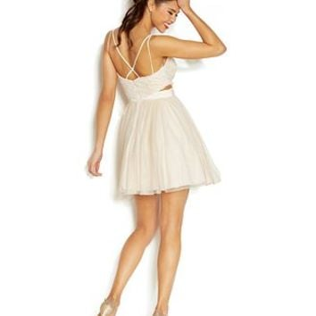 Speechless Juniors' Tulle Cutout Dress