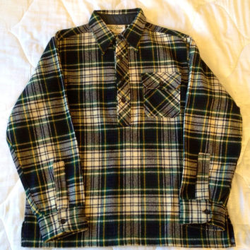 Vintage L.L. Bean Wool Anorak Plaid Lumberjack Pullover Jacket Men's Large c.1960s