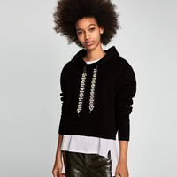 HOODIE WITH FAUX-PEARL-EMBELLISHED DRAWSTRINGSDETAILS