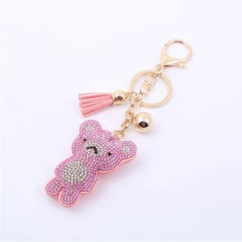 2018 Fashion cute cute velvet hot drilling keychain large teddy bear unisex key chain gift accessories free shipping