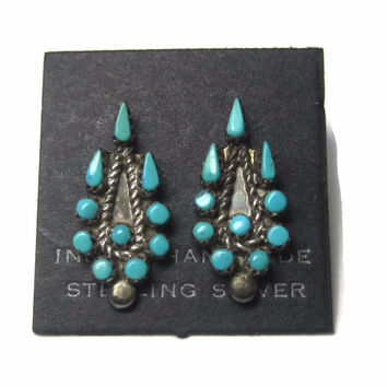 Vintage Zuni Sterling Snake Eye Turquoise Earrings