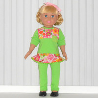 18 inch Dolls Bright Green Tunic Top and Leggings with Pink Flowers and Ladybugs American Doll Clothes