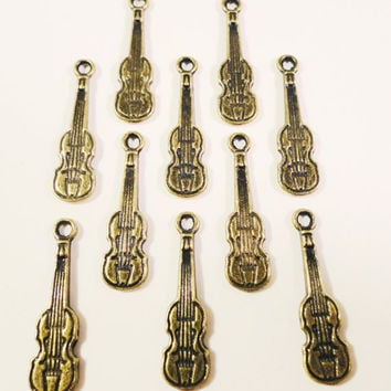 Bronze Violin Charms 22x6mm Antique Brass Tone Metal Viola Cello Musical Instrument Small Charm Pendant Jewelry Making Findings 10pcs