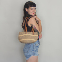 70s MINI SISAL Bag - Vintage 1970s Small MARKET Tote with Leather Straps