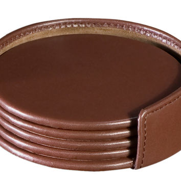 Office Desk Tabletop Decorative Chocolate Brown Leather 4 Round Drinkware Coaster Set
