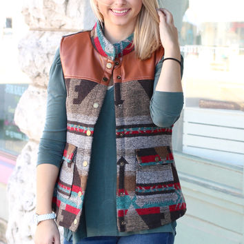Aztec Fur Lined + Leather Accent Vest