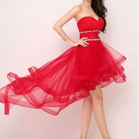 [65.99] In Stock Exqusite Silk-like Tulle Sweetheart Neckline Hi-lo A-line Prom Dresses - dressilyme.com