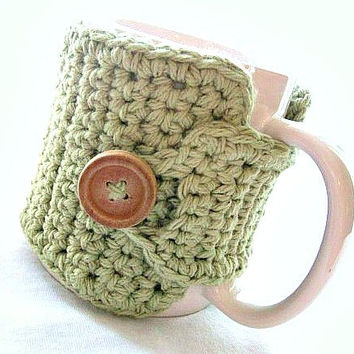 Coffee Cozy in Light Sage Green - Coffee Accessories - Tea Cozy - Teachers Gift - Coffee Cozy by MontanaDaisyGirl on Etsy