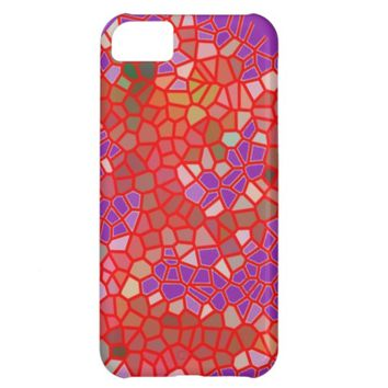 Red And Purple Crackle Cover For iPhone 5C