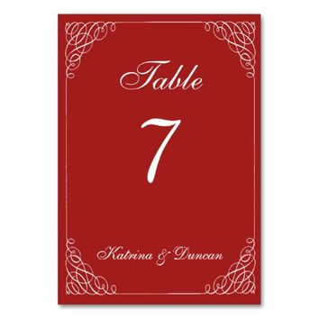 Elegant Swirl Red Personalized Table Card