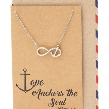 Maylene Infinity Anchor Necklace, Bible Quote Inspired Jewelry with Greeting Card