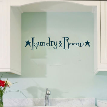 Laundry Room with Primitive Stars Vinyl Wall Words Decal Sticker Graphic