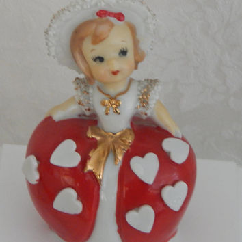 Vintage -Collectible Lefton Exclusives Japan-Valentine Heart Porcelain Girl Bell Ornament with Spaghetti Gold Trim - 1950's