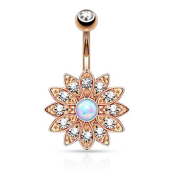 Gold Flower Sparkly Crystal Paved Opal Belly Ring Navel Ring Body Jewelry Piercing