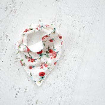 Organic Bandana Bib in Red Floral