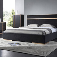 Nova Domus Cartier Modern Black & Brushed Bronze Bedroom Set