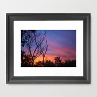 Fire in the sky landscape Framed Art Print by Rebeccafielding