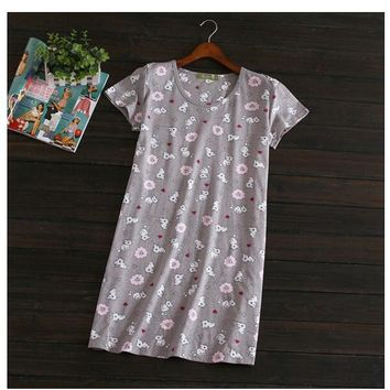 Women's Cat print Cotton Short sleeve Round collar Homewear Dress 6 Colors