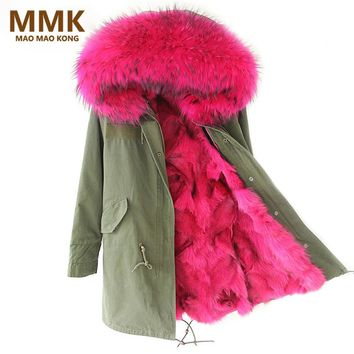 2017 New Women Winter Coat Army Green Thick Parkas Large Real Raccoon Fur Collar Hooded Fox Fur Lining Winter Jacket