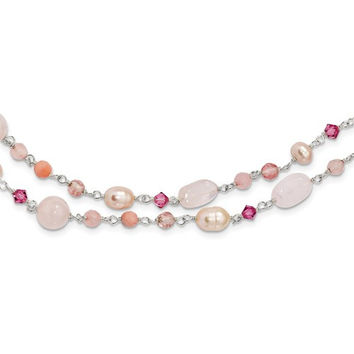 "Sterling Silver Pink Pearl, Cherry Rose Quartz, Peach Jade & Rosaline 56"" Necklace"