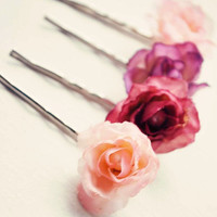 Pink flower bobby pin set, Rose hair clips - GUMDROPS