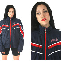 90s FILA Windbreaker / Athletic Health Goth Normcore Navy Blue and Red Oversized Jacket / Size M Medium