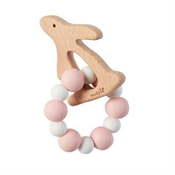 BUNNY WOOD & SILICONE TEETHERS PINK