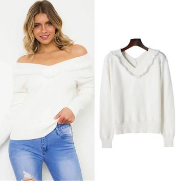Women's Fashion Winter V-neck Pullover Sweater [31066587162]