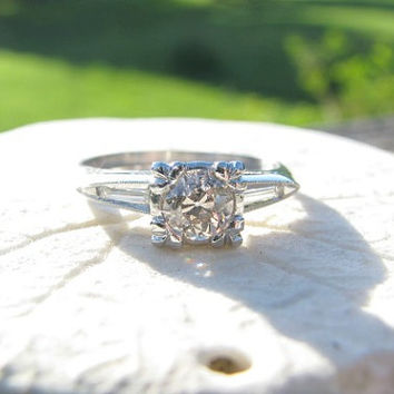 Art Deco Engagement Ring, Fiery Old European Cut Diamond, Baguette Side Stones in Platinum, approx .60 cttw, Circa 1930s