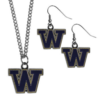 Washington Huskies Dangle Earrings and Chain Necklace Set