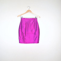 80s skirt // fuchsia silk // 1980s vintage mini by onefortynine