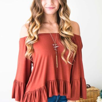 Why Wait Rust Off Shoulder Ruffle Top