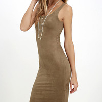 Have it Suede Tan Midi Dress