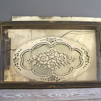 vintage glass tray oval mirrored floral lace by KatyBitsandPieces
