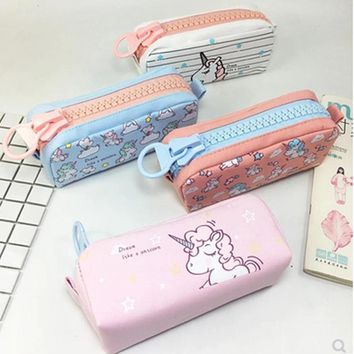 unicorn pencil case High capacity kalem kutusu zipper estuche escolar Kawai etui pencilcase cute stationery pen case