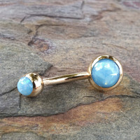 Light Blue Opal Belly Button Ring Synthetic Opal
