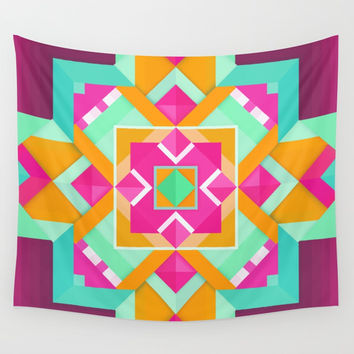 Geometric Tribal Mandala Inspired Modern Trendy Vibrant (Mint Green, Maroon, Wine, Hot Pink, Orange) Wall Tapestry by AEJ Design