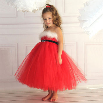 Baby Girls Chrismas Ball Dress Toddler Party Wedding Dress Children Red Tutu Princess Dress Girls Clothes With Feathers Vetidos