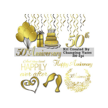 Gold 50th Anniversary Clip Art Digital Scrapbooking Stickers, Wedding Love Clipart. Hearts Ribbons Love Birds Cake Word Art Streamers Banner