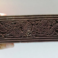Indian wooden hand carved textile printing on fabric block / stamp ethnic FINE carving vintage floral Border strip pattern