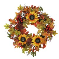 """24"""" Artificial Fall Leaf  Berry and Sunflower Decorative Wreath"""