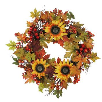 "24"" Artificial Fall Leaf  Berry and Sunflower Decorative Wreath"